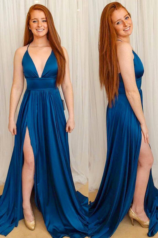 Spaghetti Straps Side Side Long Navy Blue Prom Dress