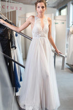 Floor-Length V-Neck A-line Ivory Wedding Dress with Lace