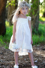Cap Sleeves Tea Length Flower Girl Dress