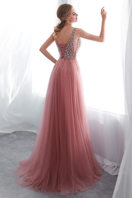 Beading Tulle Pink Long Prom Dress with Side Slit