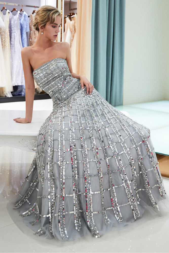 Strapless Floor Length Sliver Prom Dress with Sequins