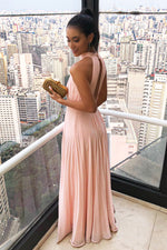 High Neck Hollow Out Long Pink Prom Dress with Pleats