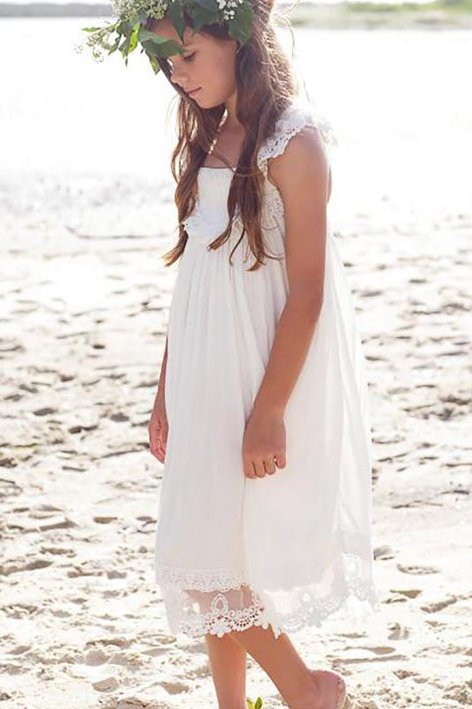 Boho Ivory Beach Flower Girl Dress with Criss Back