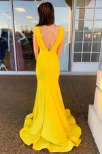 Mermaid V-Back Ruched Long Yellow Prom Dress