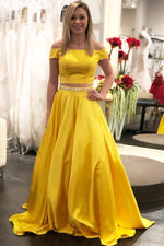 Elegant Off the Shoulder Two Piece Daffodil Prom Dress with Beaded Belt