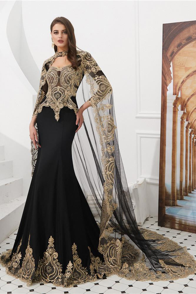 Luxurious Black Long Prom Dress with Champagne Appliques