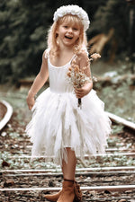 Asymmetrical Knee Length Tiered White Flower Girl Dress