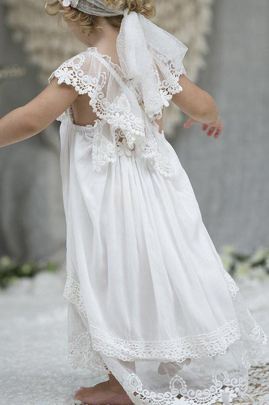 Adorable White Chiffon Long Flower Girl Dress with Criss Back