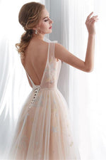 Romantic Lace-Up Champagne Long Prom Dress