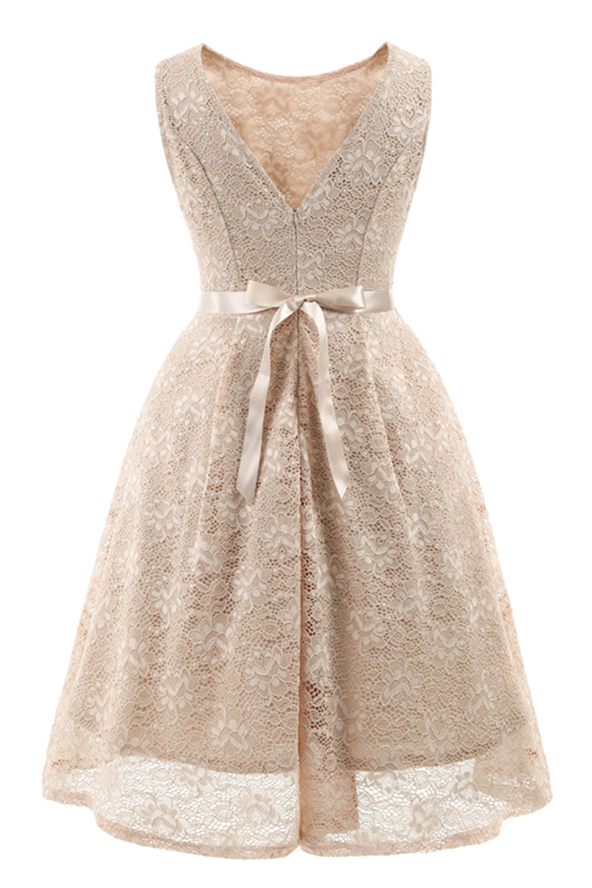 Scoop Lace Ivory Short Party Dress with Ribbon