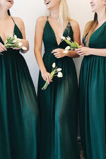 Plunging Neck A-Line Dark Green Bridesmaid Dress