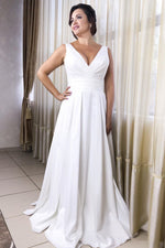 Simple V-Neck White Wedding Dress with Pleats