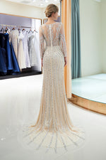 Illusion Long Sleeves Mermaid Beading Sweep Silver Prom Evening Dress