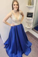 Sleeveless Long Royal Blue Prom Dress with Beaded Top