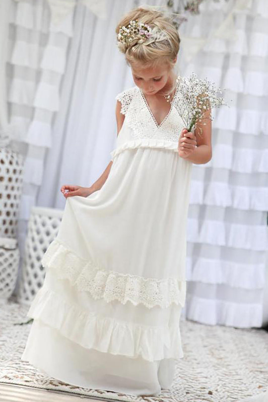 Boho Ivory Chiffon Long Flower Girl Dress
