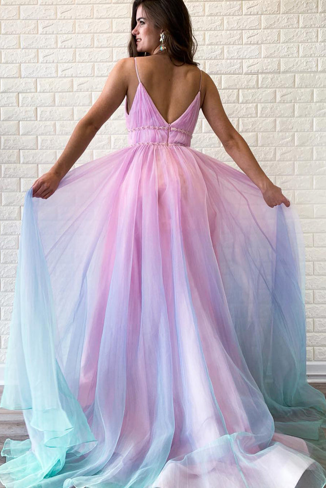V-Back Beading Multi-Colored Long Prom Dress