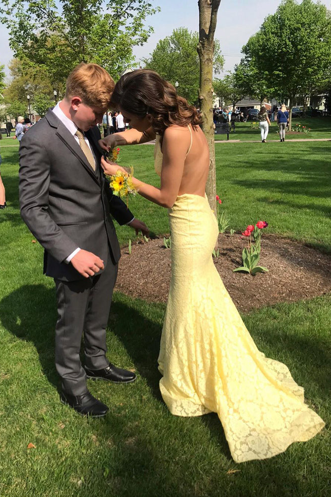 Mermaid Open Back Lace Yellow Prom Dress