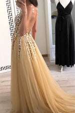 Straps Beading Long Tulle Gold Prom Dress with Open Back