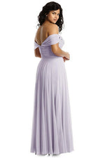 Boho Off the Shoulder Ivory Pleated Chiffon Bridesmaid Dress