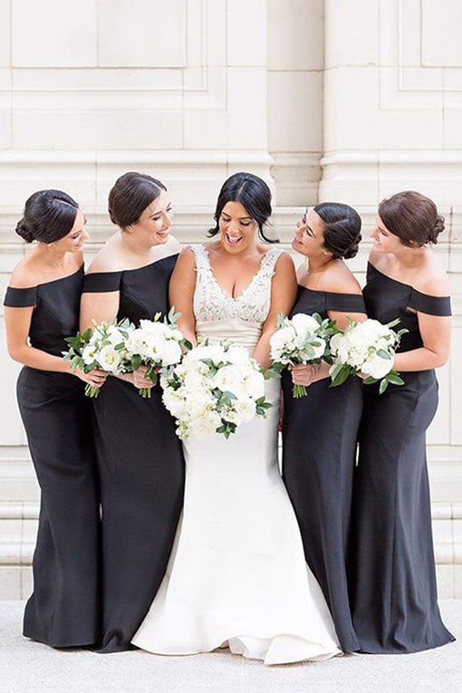 Slash Neck Mermaid Long Black Bridesmaid Dress