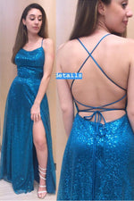 Spaghetti Straps Sequins Blue Prom Dress with Slit