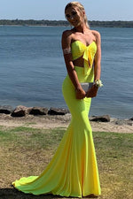 Two Piece Sweetheart Mermaid Yellow Prom Dress