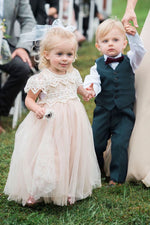 Cap Sleeves Lace-Top Champagne Flower Girl Dress