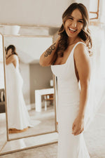 Long Square Neck Mermaid White Bridal Dress