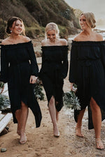 High-Low Off Shoulder Long Sleeves Black Bridesmaid Dress with Ribbon