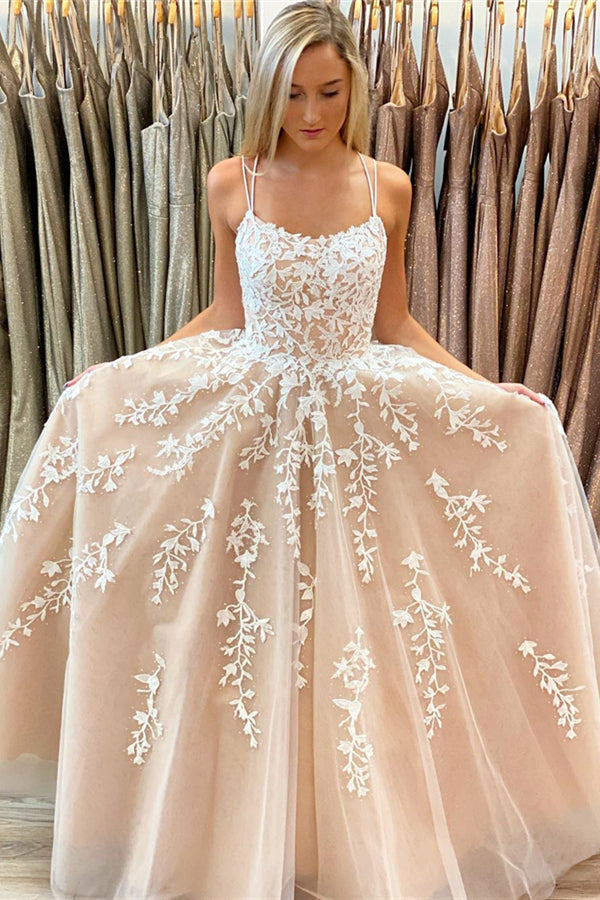 A-line Straps Long Nude Lace Prom Dress with Lace-Up
