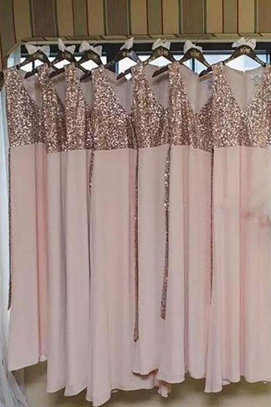 Pink V-Neck Long Bridesmaid Dress with Sequins Top
