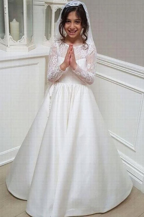 Long Sleeves V Back Floor Length Flower Girl Dress