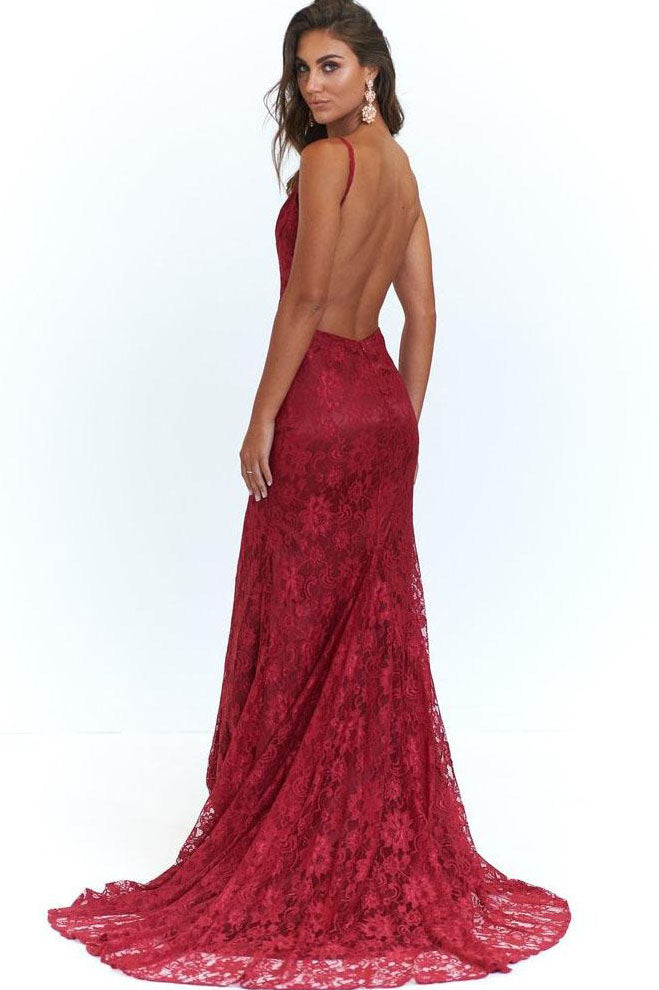 Elegant Mermaid Pink Lace Long Evening Dress