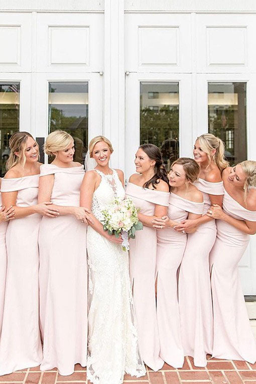 Mermaid Slash Neck Blush Pink Bridesmaid Dress with Split