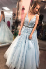 Floor Length Light Sky Blue Prom Dress with Appliques and Beaded Belt