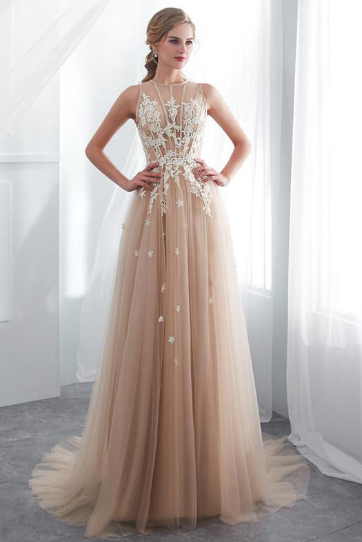79acc100c4e2 Gorgeous Long Champagne Prom Dress with White Lace Appliques – Modcody