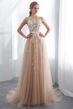 Gorgeous Long Champagne Prom Dress with White Lace Appliques