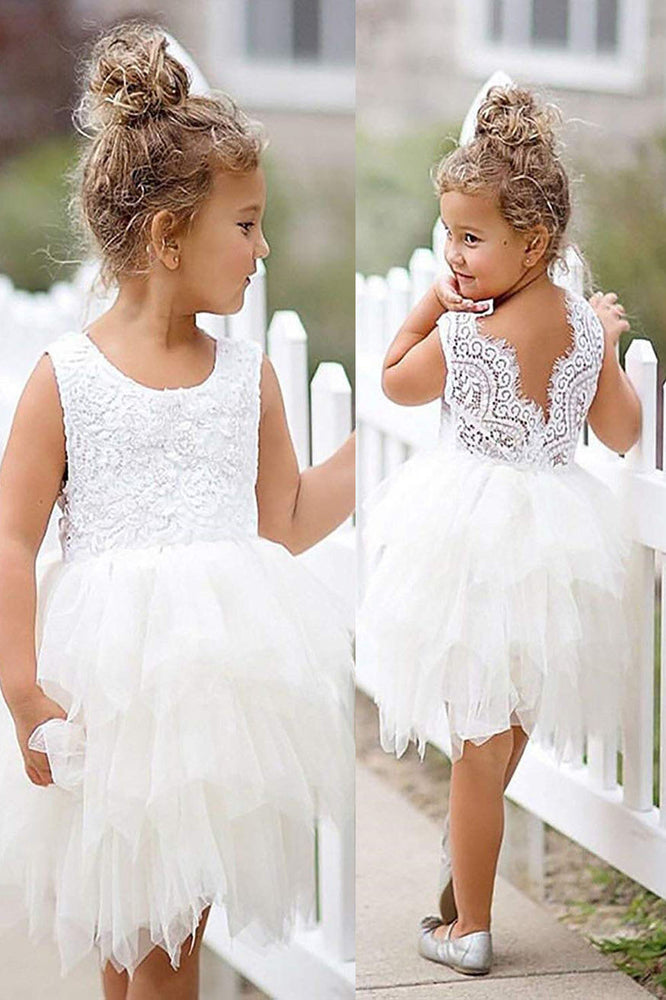 Cute White Tutu Flower Girl Dress