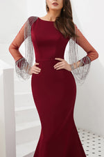 Mermaid Burgundy Long Sleeves Long Prom Dress with Tassel