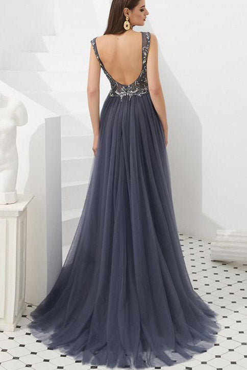 Elegant Grey Beaded Long Prom Dress with Open Back