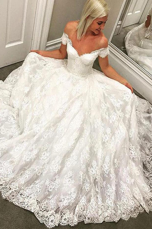 Princess Long Off Shoulder A-line Ivory Wedding Dress with Lace