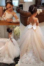 Princess Long Sleeves Appliques Long Ivory Flower Girl Dress with Train
