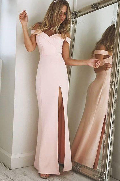 Off the Shoulder Mermaid Pearl Pink Long Party Dress