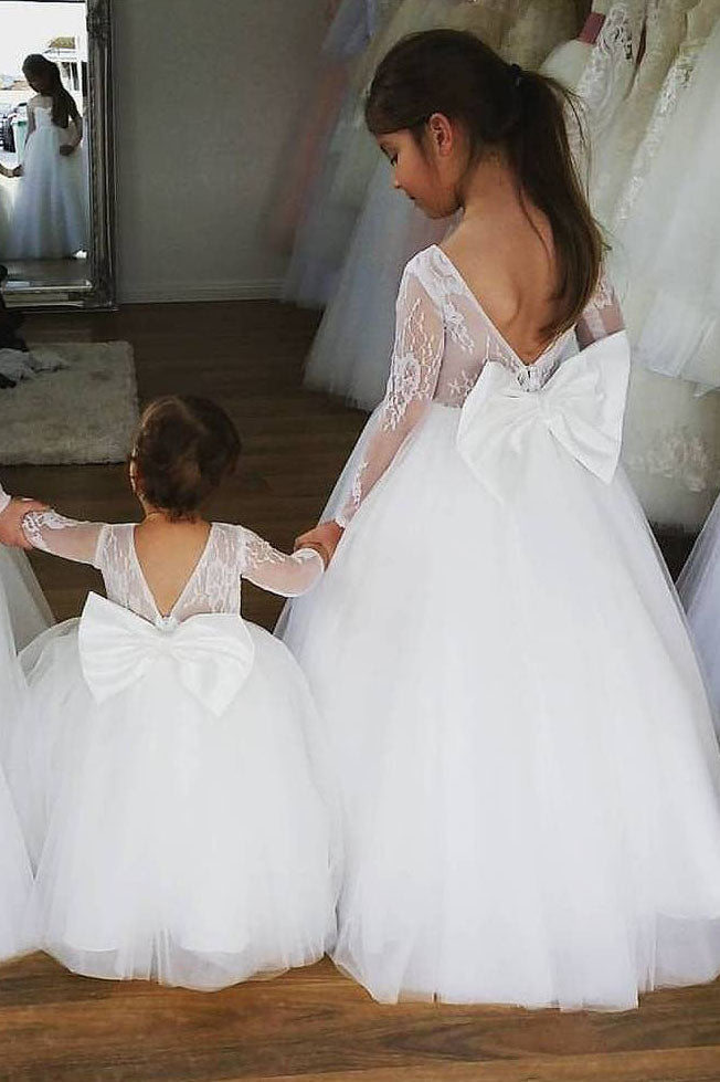 Ball Gown Long Sleeves Flower Girl Dress with Bow