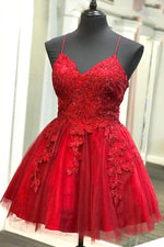 Strappy Lace Appliqued Red Short Homecoming Dress
