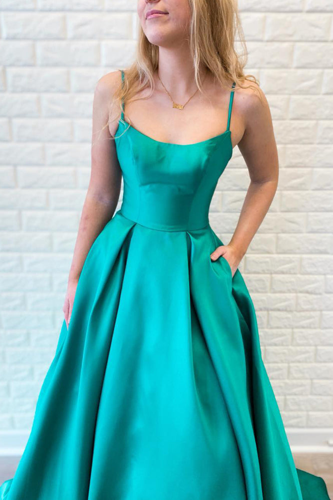 Spaghetti Straps Long Turquoise Prom Dress