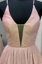 Glitter Lace-up Blush Pink Long Prom Dress