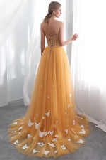 Orange Strapless Long Prom Dress with Butterflies