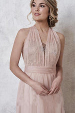 Convertible Rose Gold Long Bridesmaid Dress with Sequins