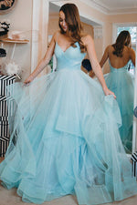 Princess Tiffany Blue Long Ball Gown with Ruffles